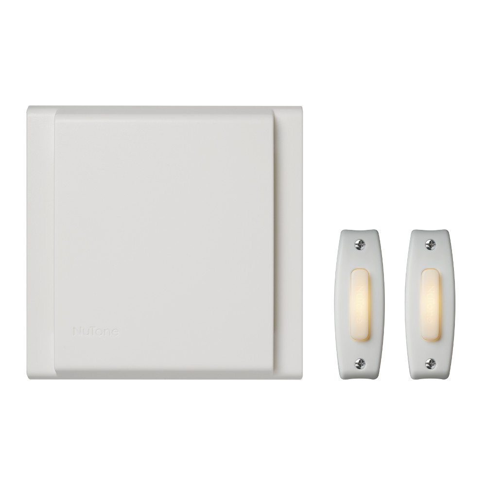 Line Voltage Wired Doorbell w/ (2) LED Lighted White Pushbutton Builder Kit