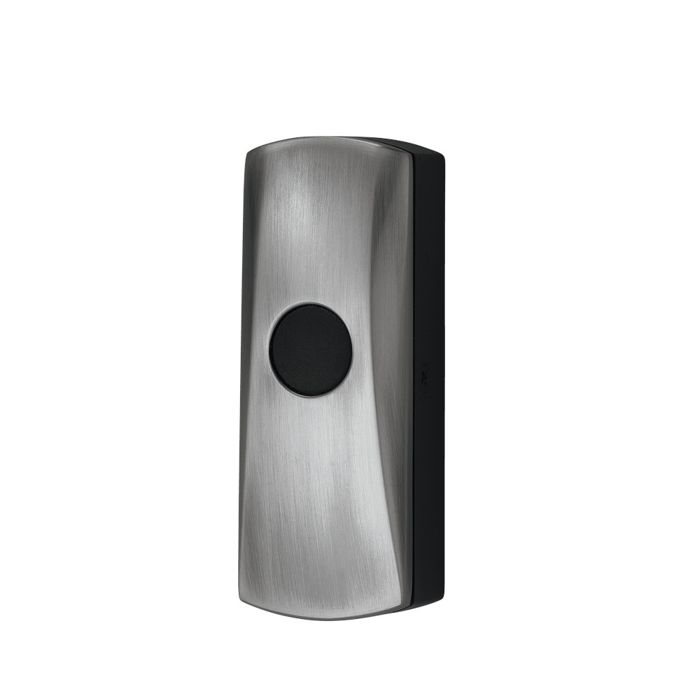 Wireless Unlighted Satin Nickel Pushbutton