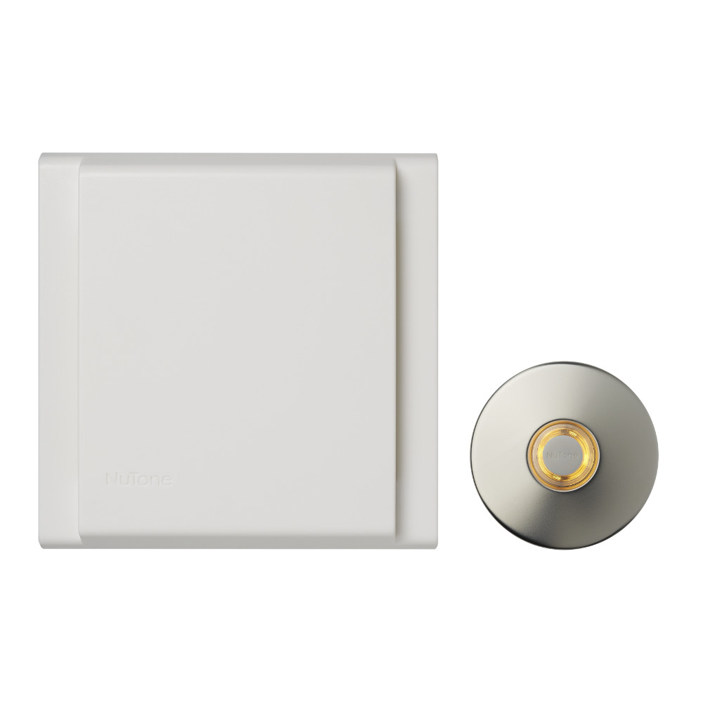 Line Voltage Wired Doorbell w/ LED Lighted Satin Nickel Stucco Pushbutton Builder Kit