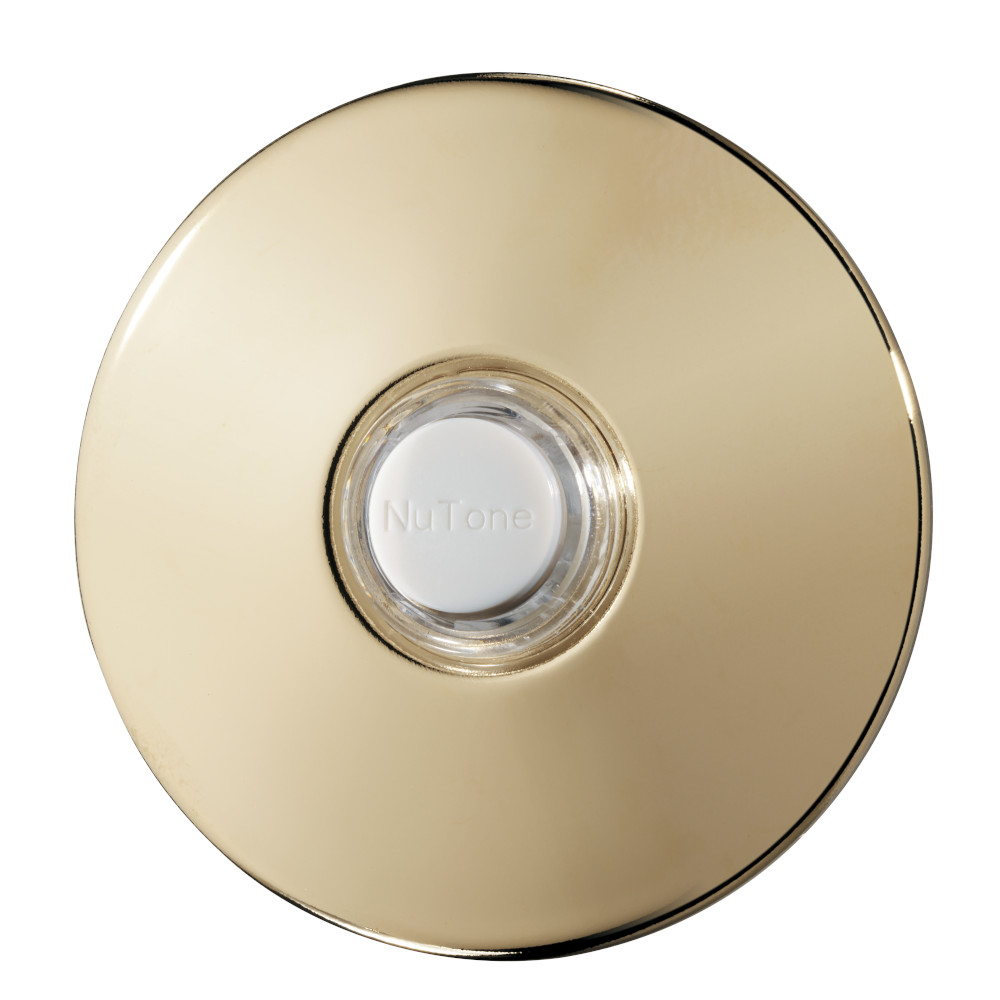 Round Polished Brass Stucco Pushbutton